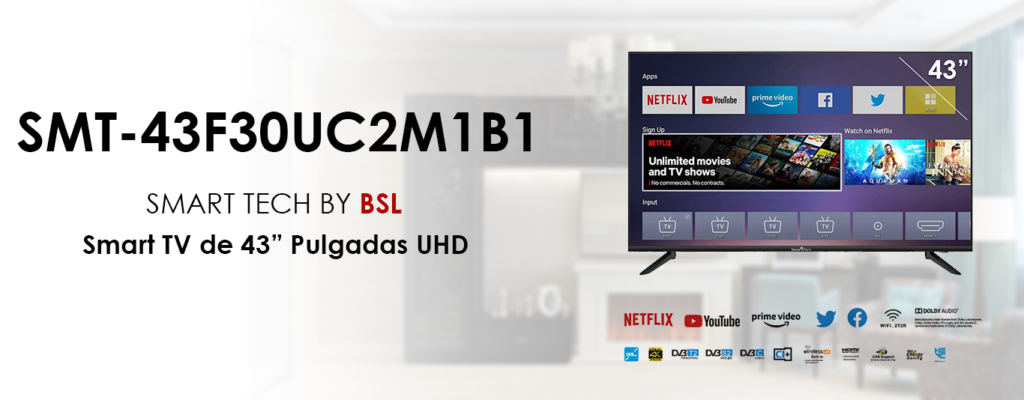 Televisor Smart Tech by BSL de 43 Pulgadas Smart TV Android TV DBVT2 | UHD LED de 3840x2160pp