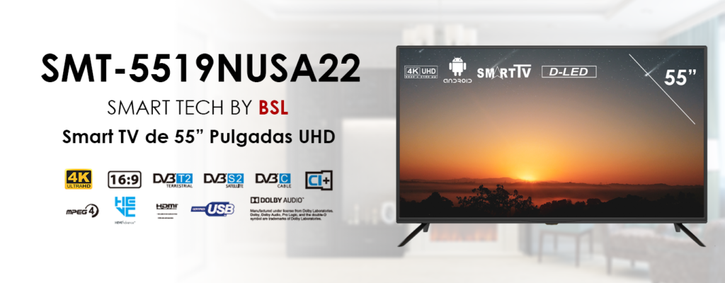 Televisor Smart Tech by BSL de 55 Pulgadas Smart TV Android DBVT2 UHD LED de 3840x2160pp